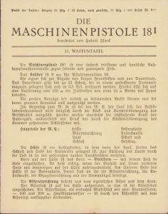 Period 'Die Maschinenpistole 18' Instruction Card