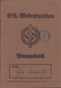 SA-Wehrabzeichen Übungsbuch (HJ)