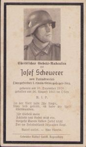 Gebirgsjäger Death Notice 1943 (Russia)