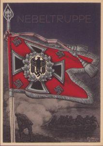 Postcard Fahnen der Deutschen Wehrmacht 'Nebeltruppe'