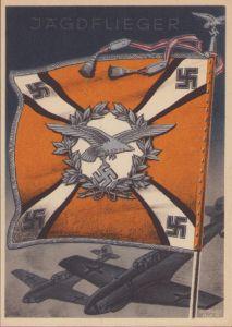Postcard Fahnen der Deutschen Wehrmacht 'Jagdflieger'