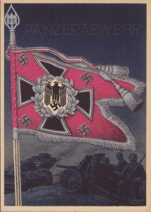 Postcard Fahnen der Deutschen Wehrmacht 'Panzerabwehr'