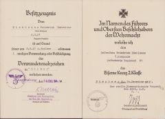 7./Inf.Rgt.61 VWA/EKII Award Docs