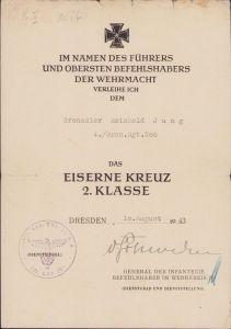4./Gren.Rgt.208 EK2 Award Document