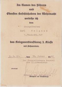 1./Wach-Btl.707 KVK2 Award Document