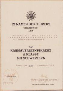 2./Radfahr-Sich.Rgt.2 KVK2 Award Document