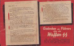 Flugblätter 'Gedanken des Führers über die Waffen SS'