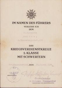 4./Sicherungs-Batl.638 KVK2 Award Document