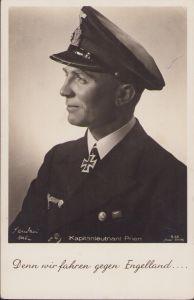 Ritterkreuzträger Postcard Kapitänleutnant Prien