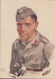 Painted Luftwaffe Flak Soldier Portrait 1939