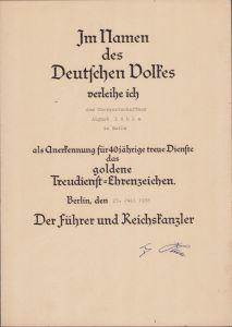 Treudienst-Ehrenzeichen in Gold Award Document 1938