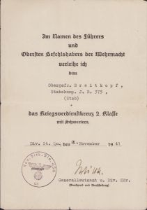 Stabskomp.Inf.Rgt.375 KVK2 Award Document