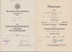 2./Sich.Rgt.318 VWA/KVKII Award Docs