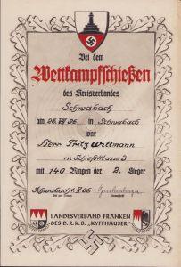 Kyffhäuser 'Wettkampfschiessen' Award Document