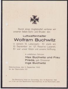 Death Notice Young Luftwaffenhelfer (16 yrs)