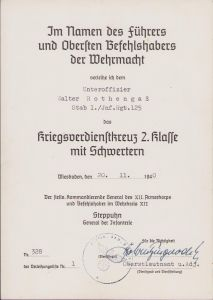 Stab I.Inf.Rgt.125 KVK2 Award Document