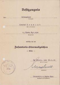 6./Gren.Rgt.694 ISA Award document (1944)