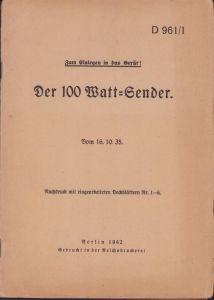 Rare 'Der 100 Watt Sender' Training Booklet