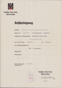 DRK Schwestern Certificate 1942