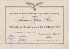 Luftwaffe Flak Related 1.Okt.1938 Award Document