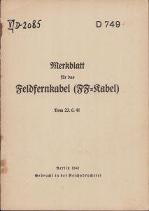 Rare 'Feldfernkabel' Instruction Booklet