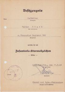 4./Gren.Rgt.386 ISA Award Document