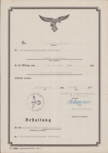 Fliegerhorstkompanie Perleberg Promotion Document 1941