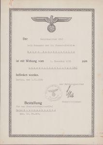 10.Pz.Div. Promotion Document 1939
