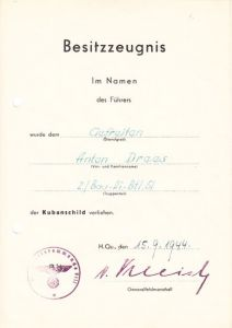Kubanschild Award Document 2./Bau-Pi-Btl.51