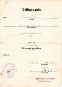 ISA Feldausb.Btl.26 Award Document