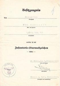 Inf.Rgt.419 ISA Award Document