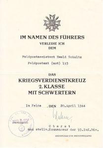 Feldpostamt (mot) 193 KvK2 award document