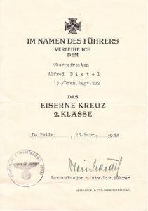 Gren.Rgt.282 EKII award document