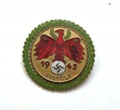 Gold 1943 'Pistole' Tirol Shooting Badge