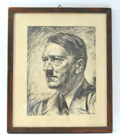 Rare Framed Adolf Hitler Lithograph (1939)