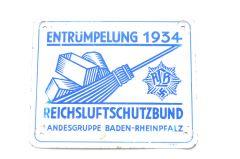Reichsluftschutzbund 'Entrümpelung 1934' Doorsign