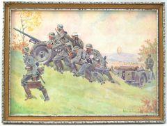 Period Framed 'Panzerabwehrkanone 36' Aquarell (1939)