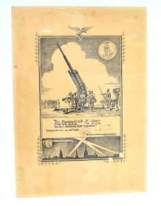 Large 'Smuckurkunde' 1.Abteilung Flak-Regiment 7