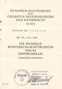Kraftfahrpark Ostmedaille Award Document