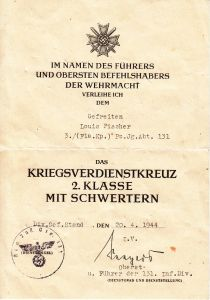 Pz.Jg.Abt.131 KvKII Award Document