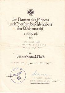 Pz.Jäg.Komp.1212 EKII Award Document (StuG)