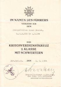 6./Art.Rgt.216 KvKII Award Document