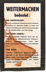 Allied German Propaganda Flyer ''Weitermachen bedeutet''