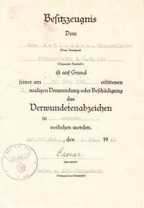 I./Art.Rgt.342 VWA Award Document