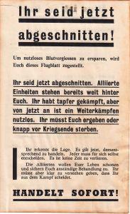 Allied German Propaganda Flyer ''Abgeschnitten''
