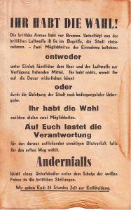 Allied German Propaganda Flyer ''Ihr habt die Wahl''