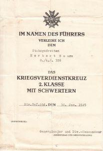 Art.Rgt.326 KvKII Award Document