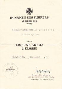 Gren.Rgt.365 EK2 Award Document