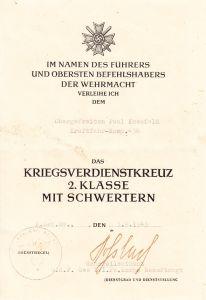 Kraftfahr-Komp.456 KvKII Award Document