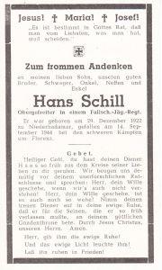 Fallschirmjäger Death Notice (Italy 1944)